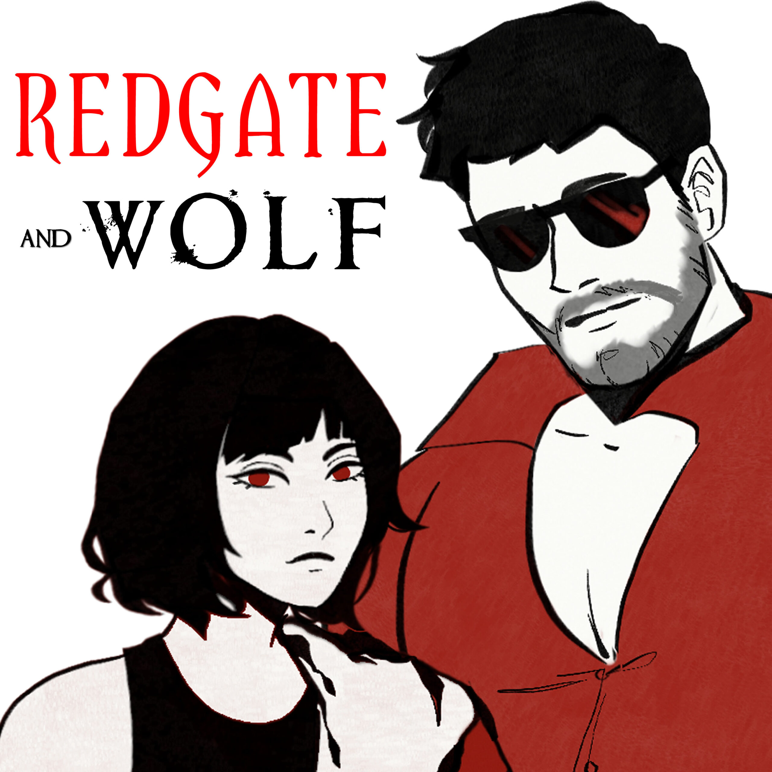 Image of an album cover depicting a serious, dark-haired woman, with a man in dark glasses. Text reads: Redgate and Wolf